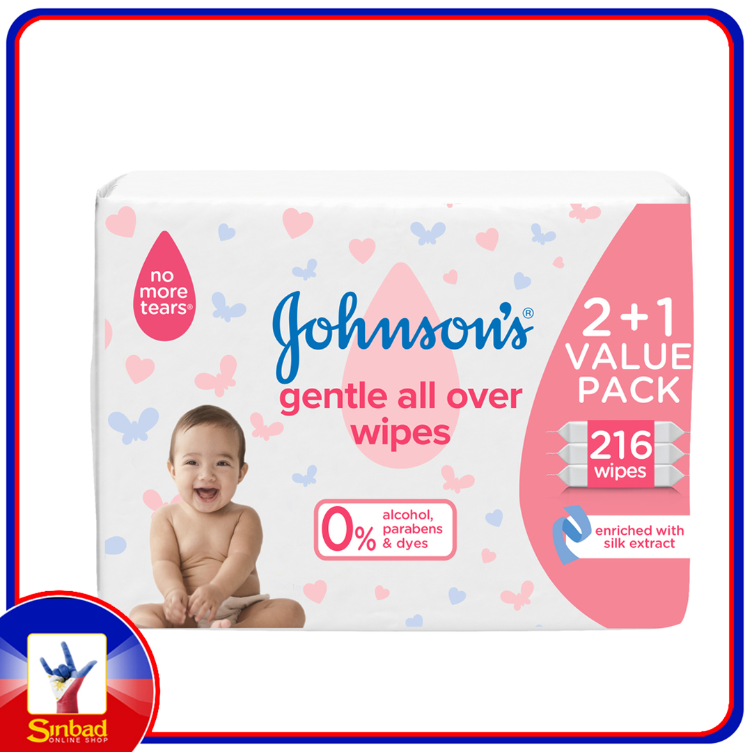 Johnsons Baby Wipes Gentle All Over 216pcs
