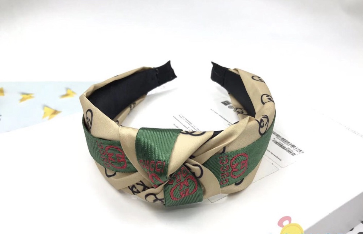 Stylish headbands beige with green & red design